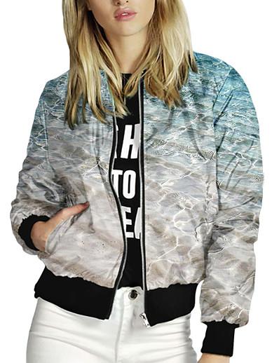 cheap OUTERWEAR-Women's Zipper Jacket Regular Print Daily Active Blue S M L XL