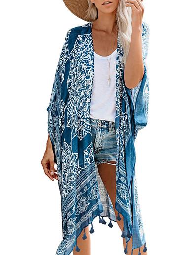 abordables Couverts-Femme Maillot de bain Géométrique Franges Imprimé Normal Maillots de Bain Maillots de bain Bleu Marron / Soutien-gorge Sans Rembourrage