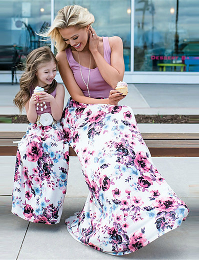 cheap Family Matching Outfits-Mommy and Me Dress Graphic Print Light Purple Sleeveless Maxi Matching Outfits