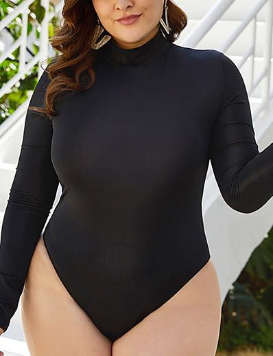 cheap Plus Size Swimwear-Women's One Piece Swimsuit Black Plus Size Swimwear Bathing Suits