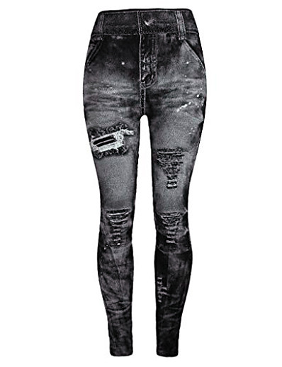 cheap Women's Pants-jeggings high waist butt lift skinny style printing vintage pants leggings plus/junior size s-xl gray