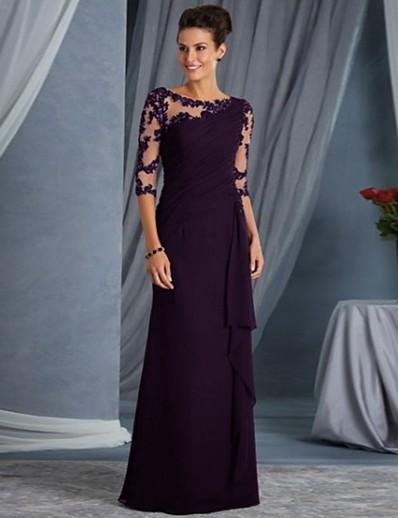 cheap Midi Dresses-Women's Shift Dress Maxi long Dress Blue Purple Wine Black 3/4 Length Sleeve Solid Color Mesh Lace Patchwork Fall Spring Round Neck Hot Elegant Party Slim 2021 S M L XL XXL
