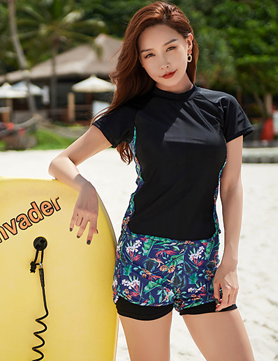 cheap Surfing, Diving & Snorkeling-Women's Rashguard Swimsuit Two Piece Swimsuit Nylon Elastane Swimwear UV Sun Protection Quick Dry Stretchy Short Sleeve 2 Piece - Swimming Surfing Snorkeling Patchwork Solid Colored Summer