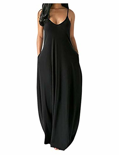 cheap Maxi Dresses-Women's Strap Dress Maxi long Dress Wine Black Blue Yellow Orange Gray Sleeveless Solid Color Summer V Neck Casual 2021 S M L XL XXL XXXL 4XL 5XL