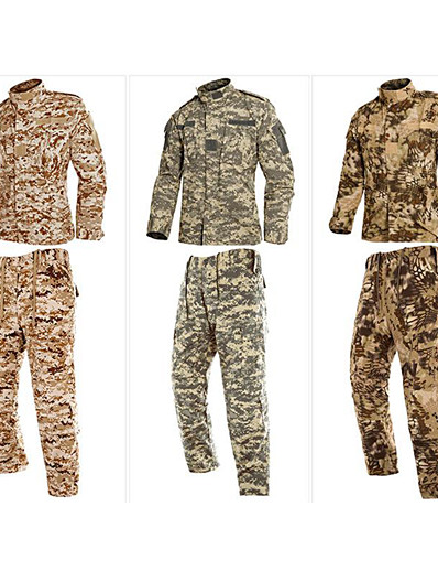 cheap Softshell, Fleece & Hiking Jackets-Men's Hiking Shirt with Pants Tactical Military Shirt Outdoor Windproof Fast Dry Quick Dry Breathable Autumn / Fall Spring Summer Camo / Camouflage Clothing Suit Cotton Long Sleeve Camping / Hiking