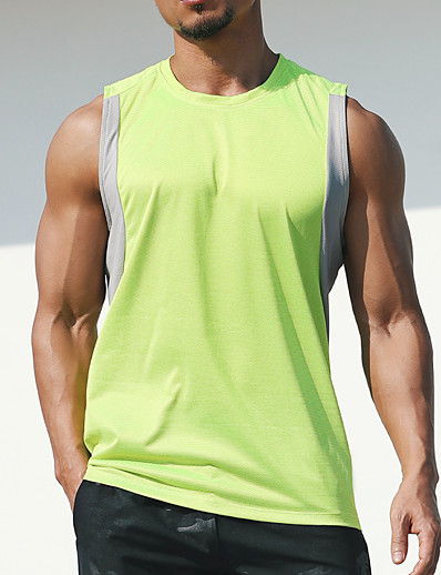 cheap Running, Jogging & Walking-21Grams Men's Sleeveless Workout Tank Top Running Tank Top Top Athletic Athleisure Summer Spandex Reflective Quick Dry Lightweight Fitness Gym Workout Running Jogging Sportswear Solid Colored Plus