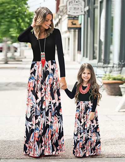 cheap Family Matching Outfits-Family Look Dress Graphic Print Black Long Sleeve Maxi Matching Outfits