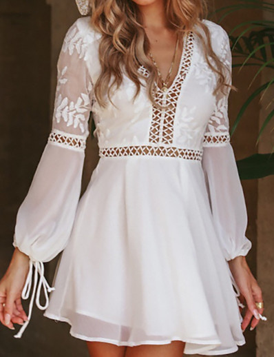 cheap Dresses-Women's A Line Dress Short Mini Dress White Long Sleeve Solid Color Backless Layered Hollow To Waist Summer V Neck Elegant 2021 S M L XL