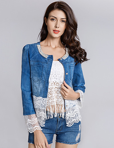 cheap Jackets-Women's Denim Jacket Solid Colored Patchwork Casual Long Sleeve Coat Fall Spring Daily Single Breasted Regular Jacket Blue / Cotton