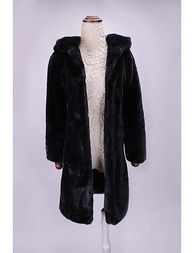 cheap Outerwear-Women's Faux Fur Coat Solid Colored Fall & Winter Regular Daily Long Sleeve Faux Fur Coat Tops Black