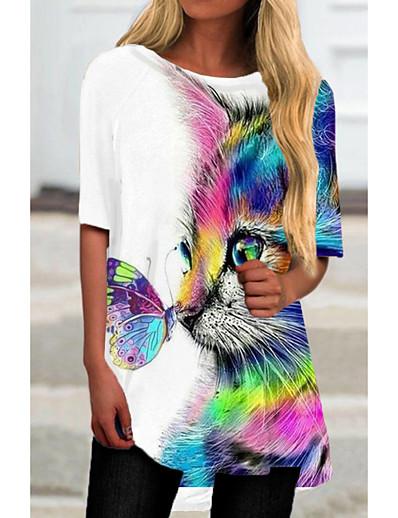 cheap Dresses-Women's T Shirt Dress Tee Dress Short Mini Dress White Half Sleeve Cat Animal Print Spring Summer Round Neck Casual 2021 S M L XL XXL 3XL