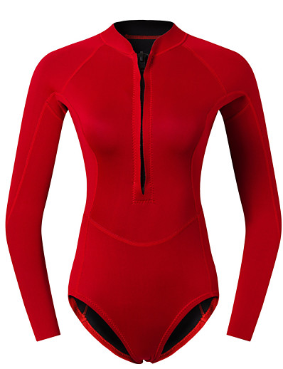 cheap Surfing, Diving & Snorkeling-Women's 2mm Shorty Wetsuit Diving Suit CR Neoprene Stretchy Thermal Warm Quick Dry Front Zip Long Sleeve - Solid Color Swimming Diving Surfing Scuba Autumn / Fall Spring Summer