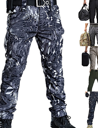 cheap Hunting Clothing-Men's Work Pants Hiking Cargo Pants Tactical Pants Waterproof Quick Dry Breathable Wearproof Autumn / Fall Spring Summer Camo / Camouflage Bottoms for Camping / Hiking Hunting Combat Camouflage Grey