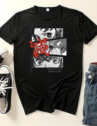 cheap Cosplay & Costumes-Inspired by Demon Slayer: Kimetsu no Yaiba Kamado Tanjirou Cosplay Costume T-shirt Polyester / Cotton Blend Graphic Prints Printing Harajuku Graphic T-shirt For Women's / Men's