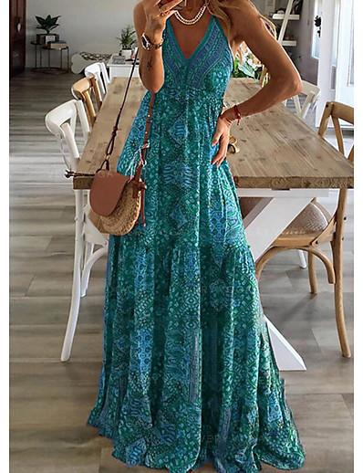 cheap Boho Dresses-Women's Strap Dress Maxi long Dress Red Fuchsia Green Sleeveless Print Print Summer V Neck Elegant Sexy 2021 S M L XL XXL