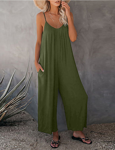 cheap Women's Clothing-LITB Basic Women's Spaghetti Strap Jumpsuit Sleevelss Pants Stretchy Comfy Summer Outwear Daily Office