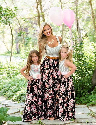 cheap Family Matching Outfits-Mommy and Me Dress Graphic Print Black Sleeveless Maxi Matching Outfits