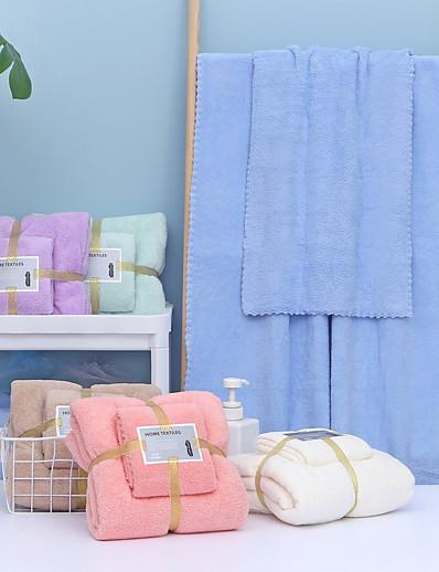 economico Casa e giardino-litb basic bagno morbido asciugamano da bagno assorbente e asciugamano confortevole in pile di corallo tinta unita asciugamani da bagno per la casa quotidiani 2 pezzi in 1 set 70 * 140 e 35 * 75 cm