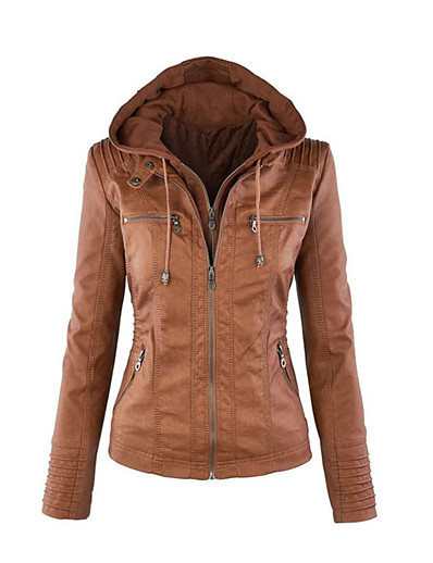 cheap Furs & Leathers-women's fashion hooded faux leather jacket