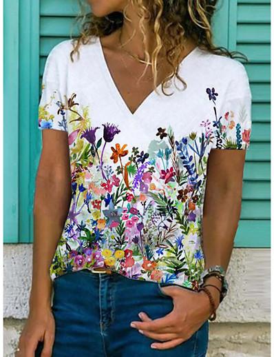 cheap Tees & T Shirts-Women's Floral Theme T shirt Floral Flower Print V Neck Tops Basic Basic Top White Black Blue