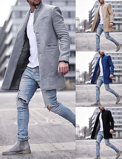 cheap Men's Outerwear-Men's Trench Coat Overcoat Winter Daily Work Long Coat Notch lapel collar Warm Regular Fit Jacket Long Sleeve Classic Style Solid Colored Gray Khaki Black