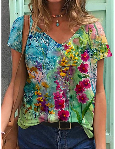 cheap Tees & T Shirts-Women's Floral Theme T shirt Floral Flower Print V Neck Tops Basic Basic Top Blue Purple Red