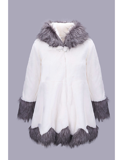 cheap Furs & Leathers-Women's Faux Fur Coat Causal Winter Long Coat Regular Fit Jacket Long Sleeve Color Block White Black / Plus Size