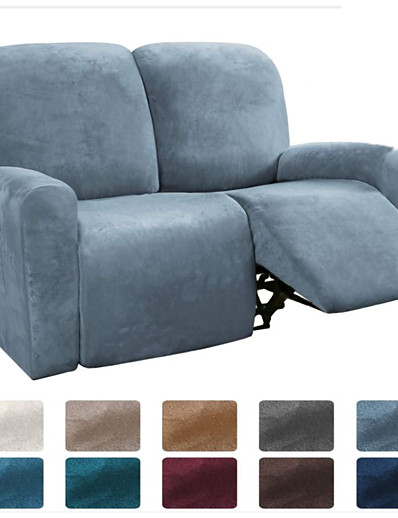 cheap Home & Garden-Sectional Recliner Sofa Slipcover 1 Set of 6 Pieces Microfiber Stretch High Elastic High Quality Velvet Sofa Cover Sofa Slipcover for 2 Seats Cushion Recliner Sofa