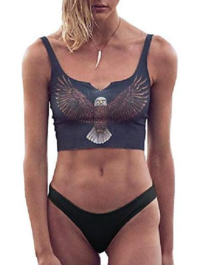 cheap Swimwear-women's cute animal printed crop top swimsuit two piece bikini set bathing suit beachwear (m, 3 eagle grey- black)