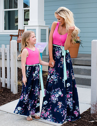 cheap Family Matching Outfits-Mommy and Me Dress Graphic Print Blushing Pink Sleeveless Maxi Matching Outfits