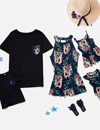 cheap Family Matching Outfits-Family Look Tops Graphic Print Black Short Sleeve Matching Outfits