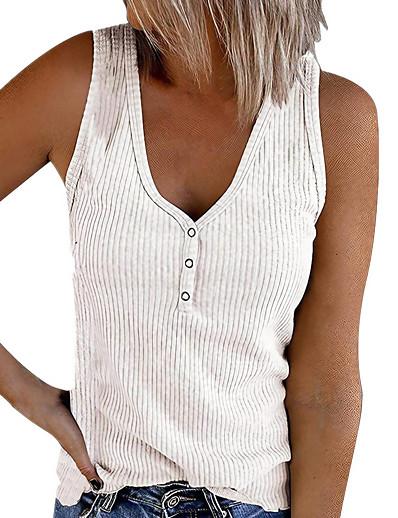 cheap Tank Tops-Women's Holiday Tank Top Vest T shirt Plain Button V Neck Basic Streetwear Tops White Black Blue