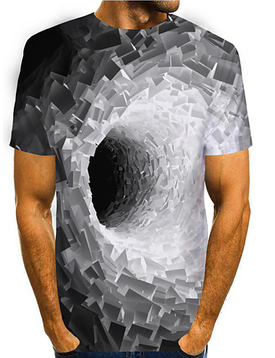 cheap Men's Tops-Men's T shirt 3D Print Graphic 3D 3D Print Short Sleeve Daily Tops Basic Casual Blue Purple Yellow