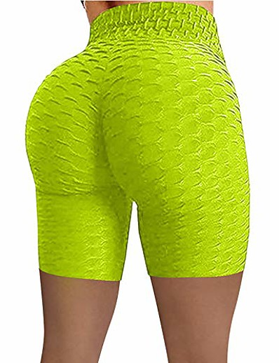 cheap Exercise, Fitness & Yoga-Womens Yoga Pants Women's Bubble Hip Butt Lifting Anti Cellulite Legging High Waist Workout Tummy Control Yoga Shorts Green