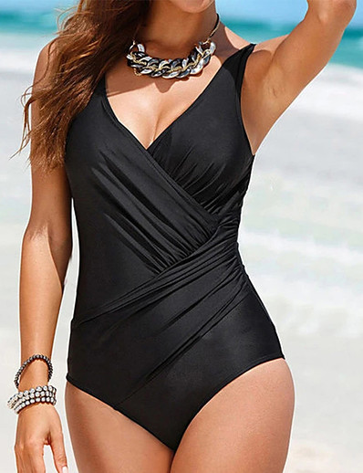 cheap One-Pieces-Women's One Piece Swimsuit Tummy Control Push Up Slim Black Plus Size Swimwear Plunge Bathing Suits Classic Sports / Strap / Wrap
