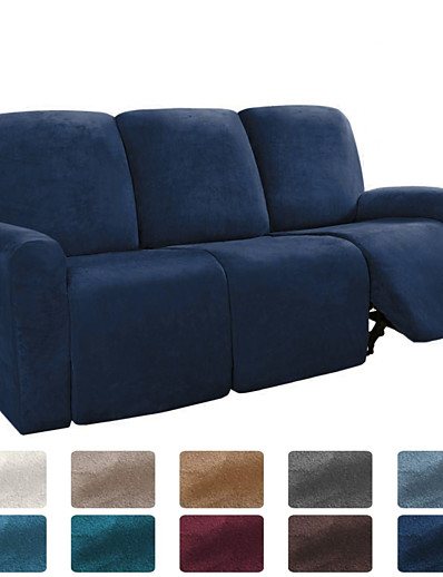 cheap Home & Garden-Sectional Recliner Sofa Slipcover 1 Set of 8 Pieces Microfiber Stretch High Elastic High Quality Velvet Sofa Cover Sofa Slipcover for 3 Seats Cushion Recliner Sofa Furniture Protector