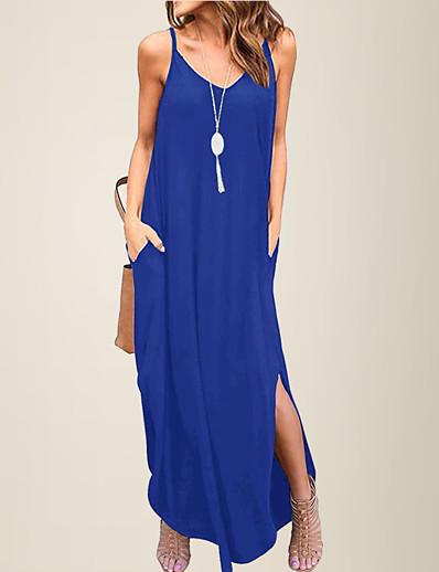 cheap Women's Clothing-LITB Basic Women's V Neck Loose Daily Dress Spaghetti Strap Summer Casual Female Beach Sundress