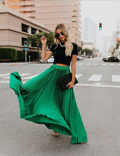 cheap Women's Bottoms-Women's Street Holiday Daily Wear Swing Elegant Streetwear Sophisticated Ankle-Length Skirts Pleated Patchwork Solid Colored Blushing Pink Green Black / Maxi