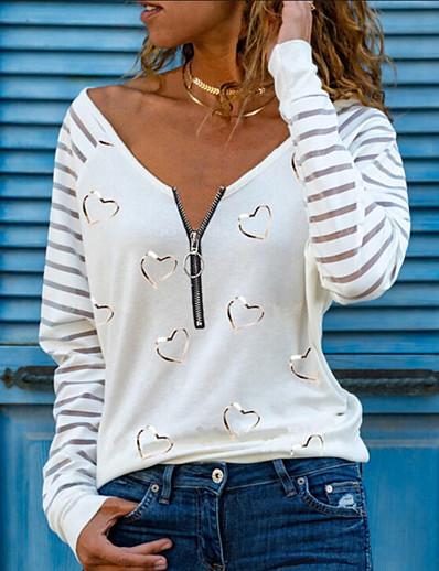 cheap Blouses & Shirts-Women's T shirt Heart Long Sleeve Quarter Zip Print V Neck Tops Sexy Basic Top White Black Blushing Pink