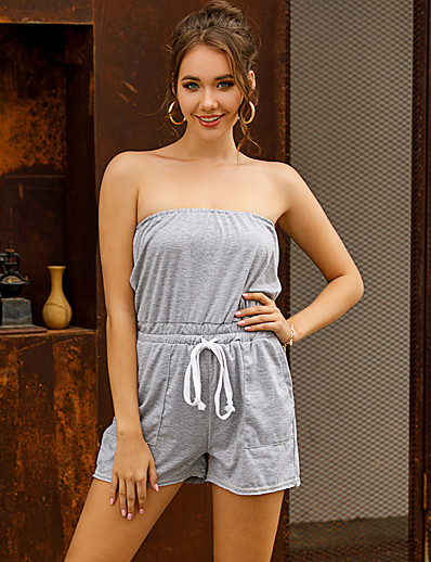 cheap Women's Rompers-LITB Basic Women's Off Shoulder Jumsuit Gray Romper Solid Colored Dry Quick Breathable Pants