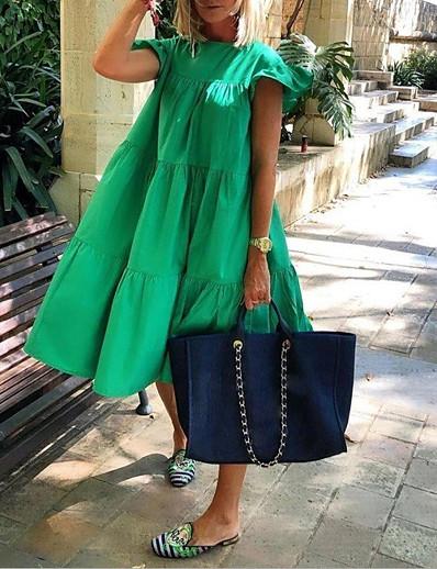 cheap Midi Dresses-Women's Sundress Midi Dress White Black Red Blushing Pink Fuchsia Green Short Sleeve Solid Color Summer Round Neck Hot Elegant 2021 S M L XL XXL