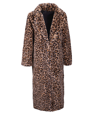 cheap Furs & Leathers-Women's Leopard Print Fall & Winter Regular Faux Fur Coat Daily Faux Fur Long Sleeve Coat Tops