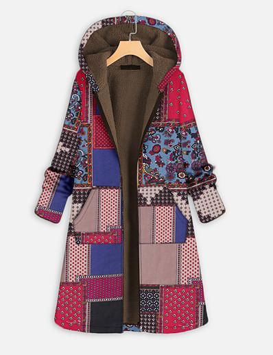 cheap Plus Size Outerwear-womens winter warm vintage coat floral print zipper hooded outerwear oversize plush lined long parka (xxxxxl, z-green)