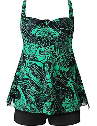 cheap Swimwear-Women's Tankini Swimwear Swimsuit Black Blue Green Plus Size Swimwear Bathing Suits / 2 Piece