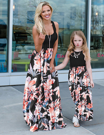cheap Family Matching Outfits-Mommy and Me Family Matching Outfits Dress Graphic Sleeveless Print Black Maxi Summer