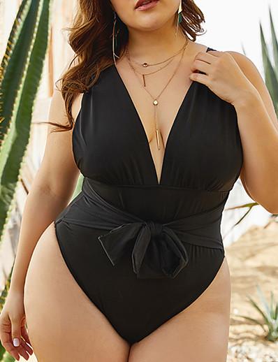 cheap Plus Size Swimwear-Women's One Piece Swimsuit Black Plus Size Swimwear Bathing Suits / Padded Bras