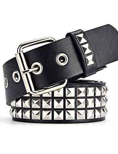 cheap Belt-punk leather belt,studded belt square beads rivet belt metal pyramid belt for jeans (silver)