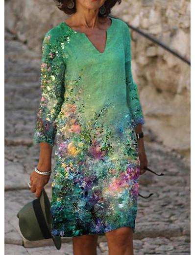 cheap Elegant Dresses-Women's A Line Dress Knee Length Dress White Black Blue Green Light Green Beige Gray Half Sleeve Floral Print Print Summer V Neck Elegant 2021 S M L XL XXL 3XL