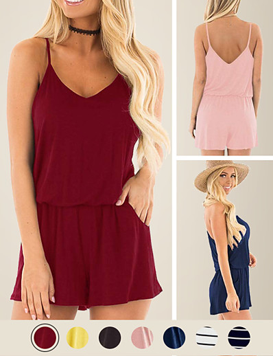cheap Jumpsuits & Rompers-LITB Basic Women's Off Shoulder Rompers Sleeveless Elastic Waist Loose Solid Colored Romper With Pockets Daily Simple Female Summer Jumpsuits