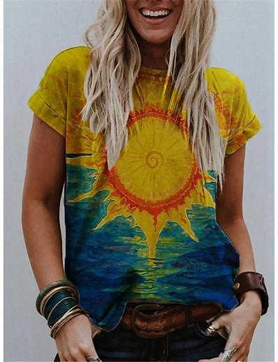 cheap Women's Tops-Women's Going out T shirt Rainbow Tribal Round Neck Print Basic Tops Loose Yellow Fuchsia Rainbow / 3D Print